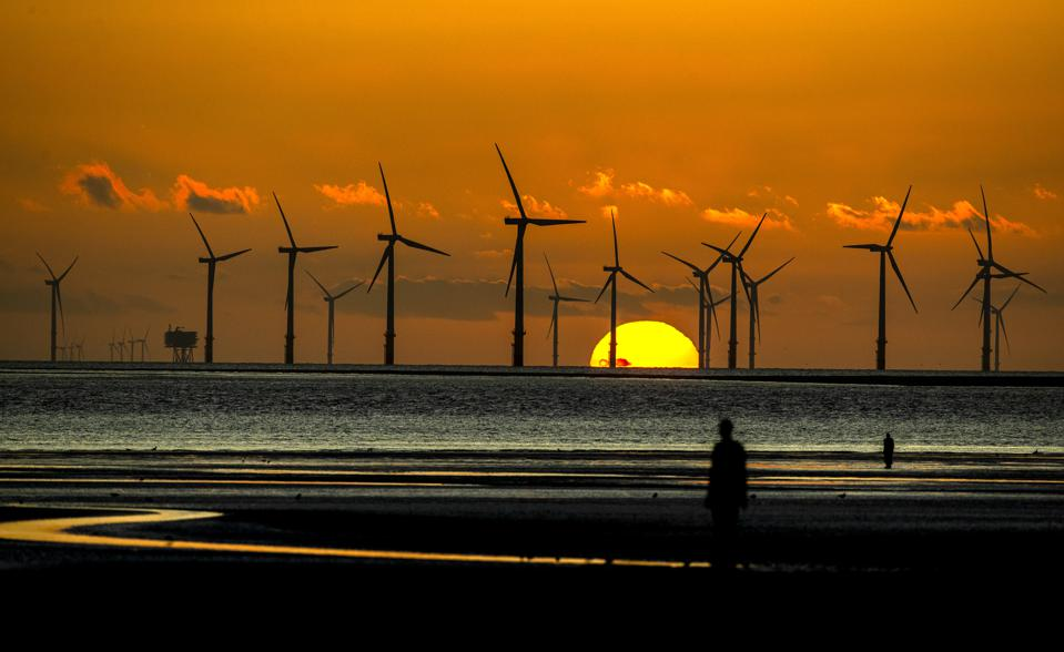 Burbo Bank wind farm at Crosby Beach on Merseyside in north west England.