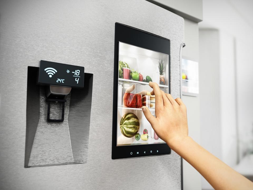 Hand controls smart refrigerator interface