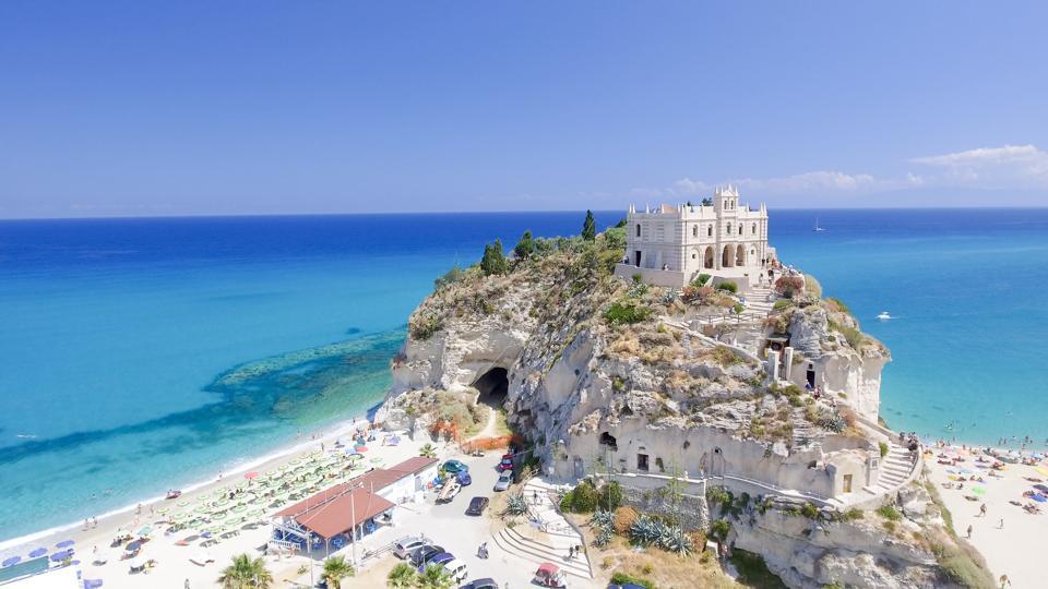 Tropea, Italy. Aerial view of Santa Maria dell'Isola Monastery