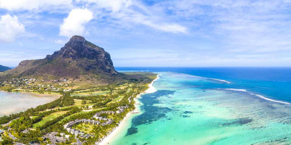 Aerial view of le Morne Brabant Peninsula, Mauritius