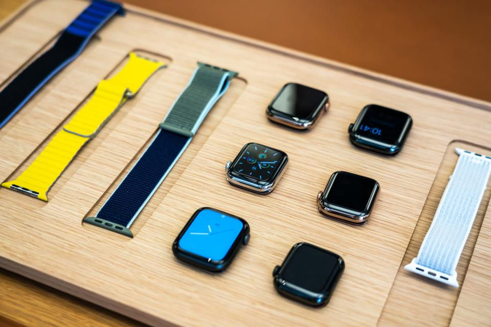 Apple's new Apple Watch Series 5 displayed at an Apple store.