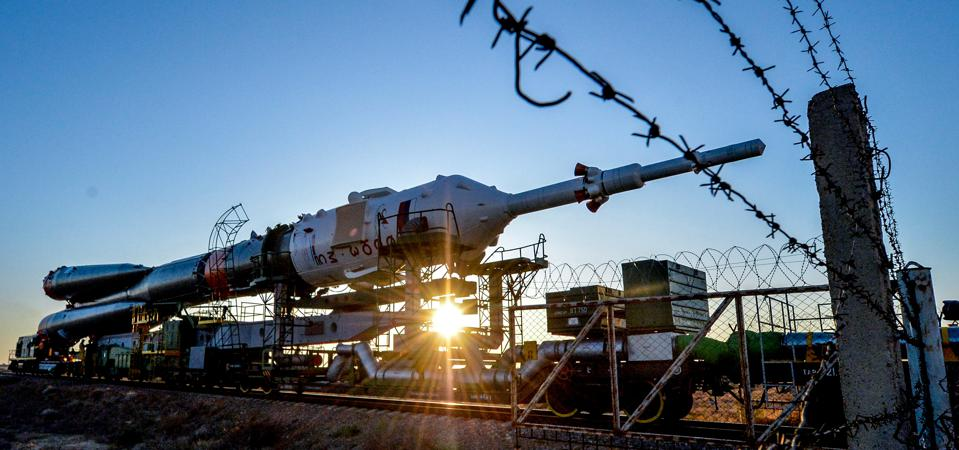 The Soyuz booster rocket FG with Soyuz MS-15 spacecraft is transported to the launch pad at the Russian-leased Baikonur cosmodrome in Kazakhstan on September 23, 2019. (Photo by Vyacheslav OSELEDKO / AFP)