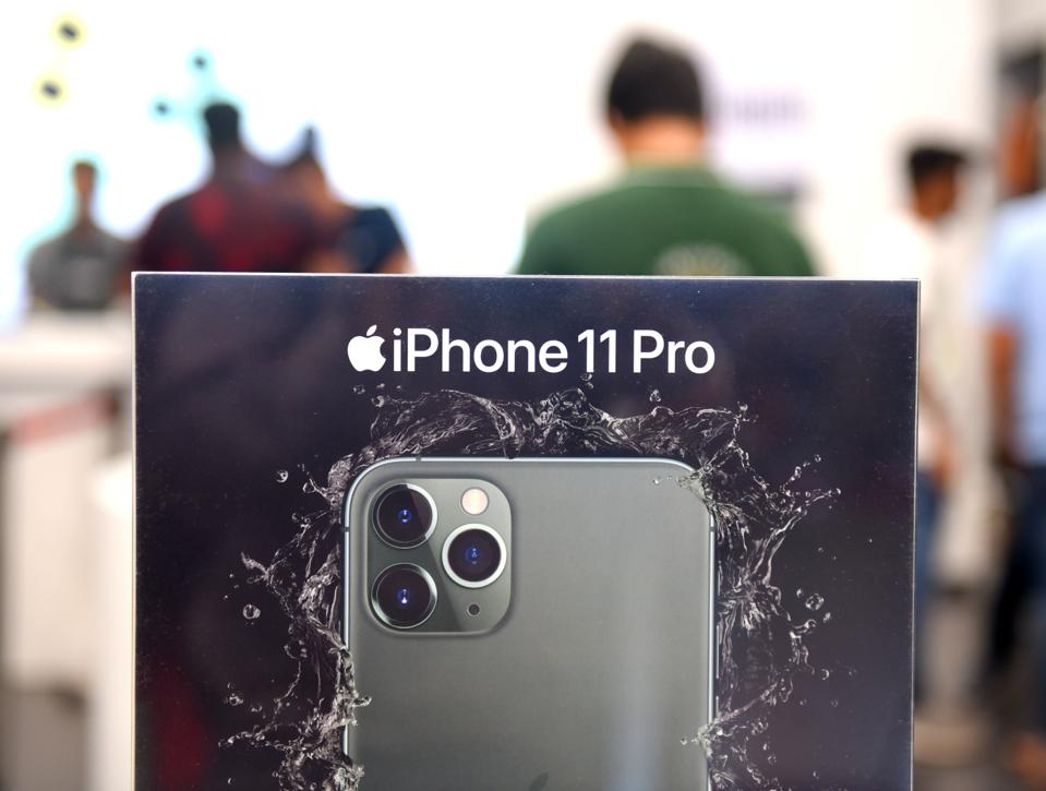 An Apple iPhone11 pro is seen on display at South City Mall...