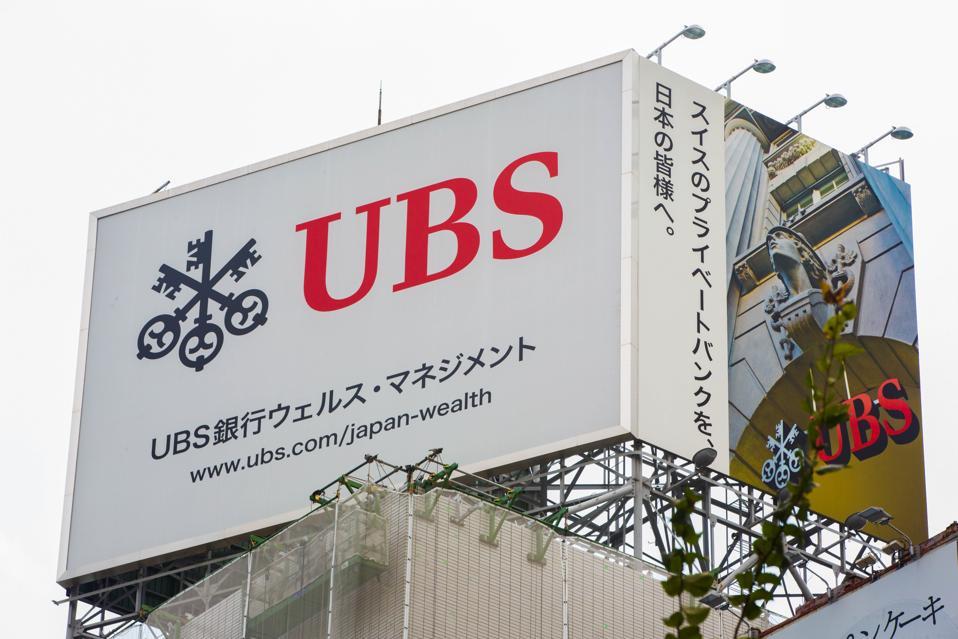 UBS advertisement billboard seen in Nihombashi...