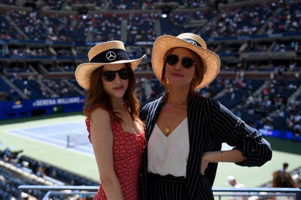 Actors Anna Kendrick and Brittany Snow Enjoy The Mercedes-Benz VIP Suite At The US Open