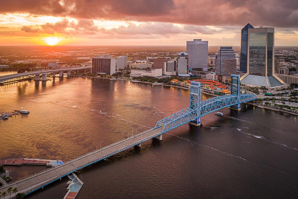 Aerial View of Jacksonville, Florida at Sunset
