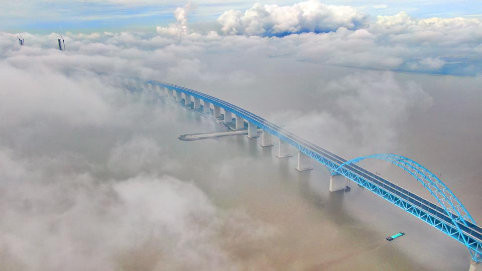 Hutong Yangtze River Bridge Under Clouds