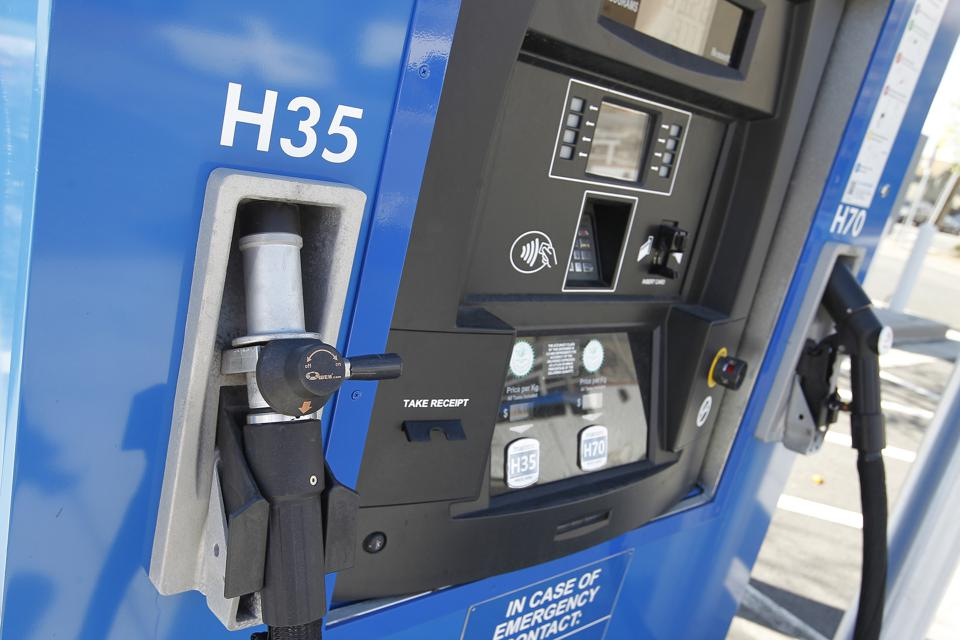 A hydrogen vehicle fueling station is photographed at the Moblie station on West A Street and Arbor Avenue on Wednesday, March 22, 2017, in Hayward, Calif.   (Aric Crabb/Bay Area News Group)