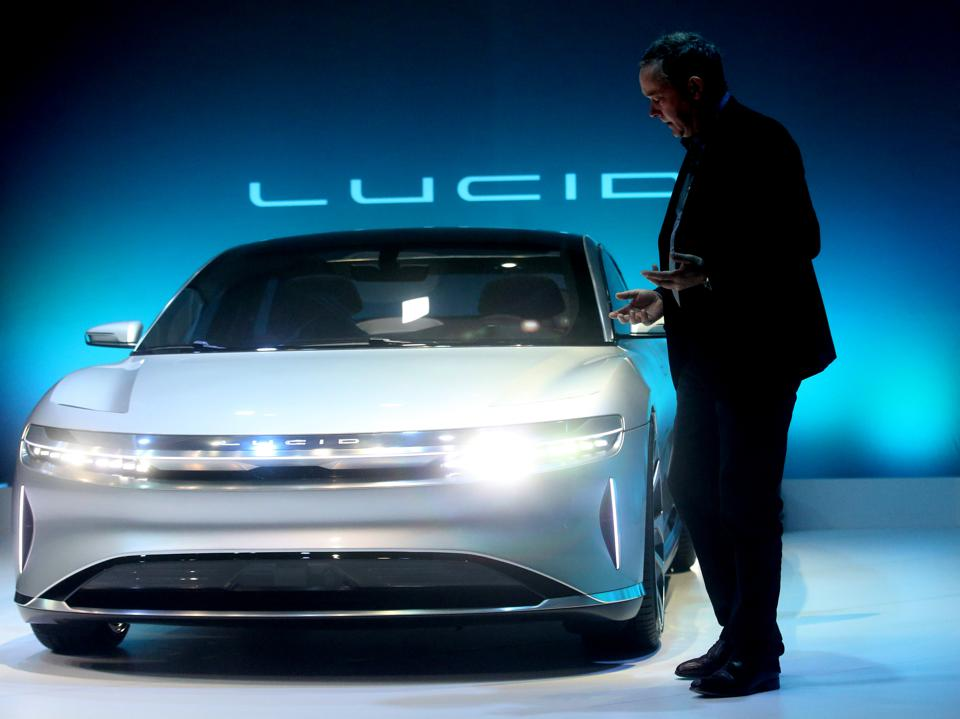 Chief Technology Officer Peter Rawlinson, takes part in a press event for the new ″air″ electric car by Lucid Motors Inc. on Wednesday, Dec. 14, 2016, in Fremont, Calif.   (Aric Crabb/Bay Area News Group)