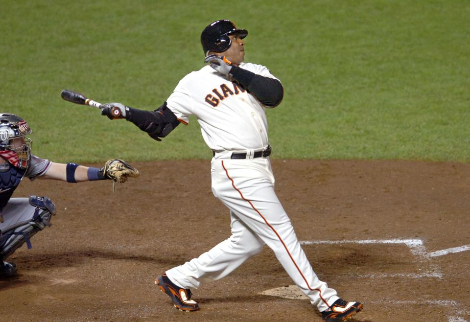 San Francisco Giants Barry Bonds hits home run #756, breaking Hank Aaron's long standing home run record, in the 5th inning of their baseball game against the Washington Nationals in San Francisco, Calif., on Tuesday August 7, 2007. (Doug Duran/Contra Co