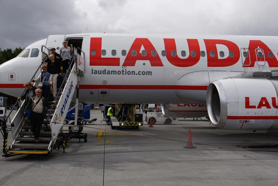 Lauda Motion Airbus A320-200 aircraft seen at the Vienna...
