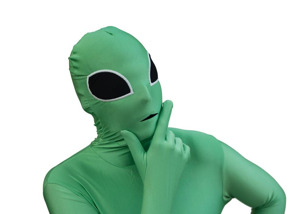 Close-Up Of Thoughtful Person Wearing Costume Against White Background