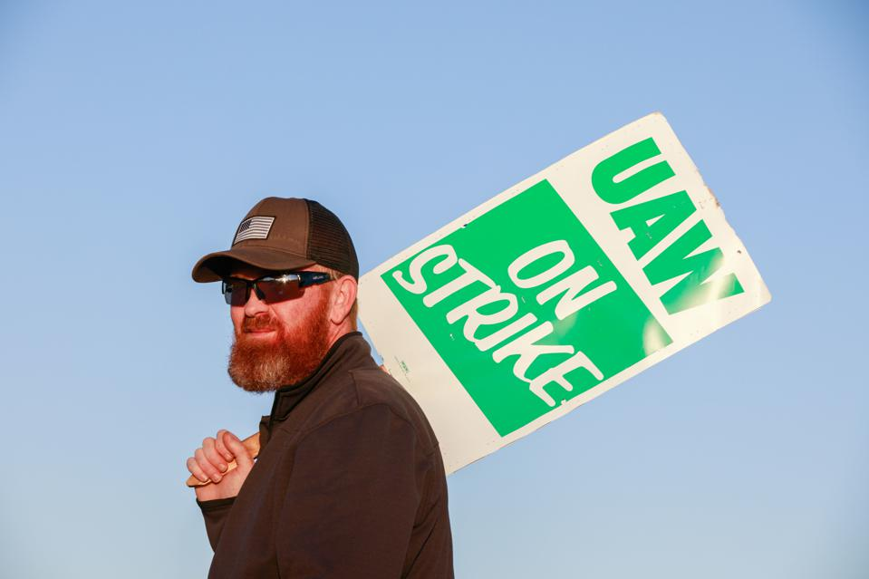 A member of the UAW Local 440 who work at the General Motors...