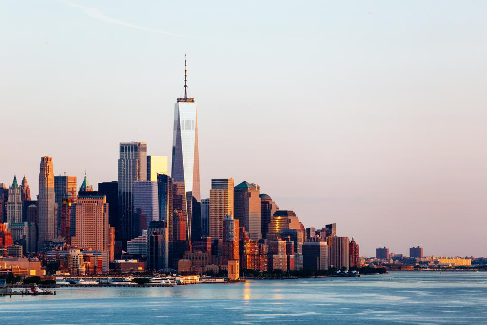 New York skyline with Manhattan Downtown financial district and Hudson River, USA