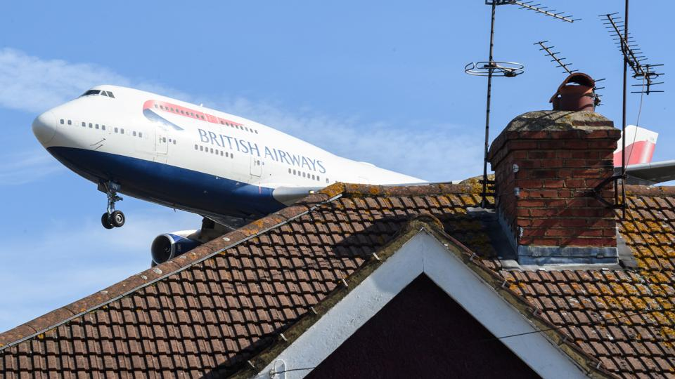 A British Airways plane comes in to land at Heathrow Airport.