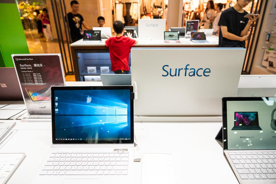 Microsoft Surface computers at a Microsoft retail store in...