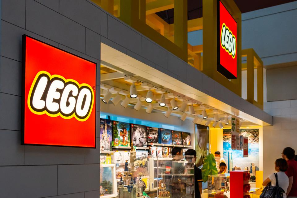 Customers at a Danish toy production company Lego store in...