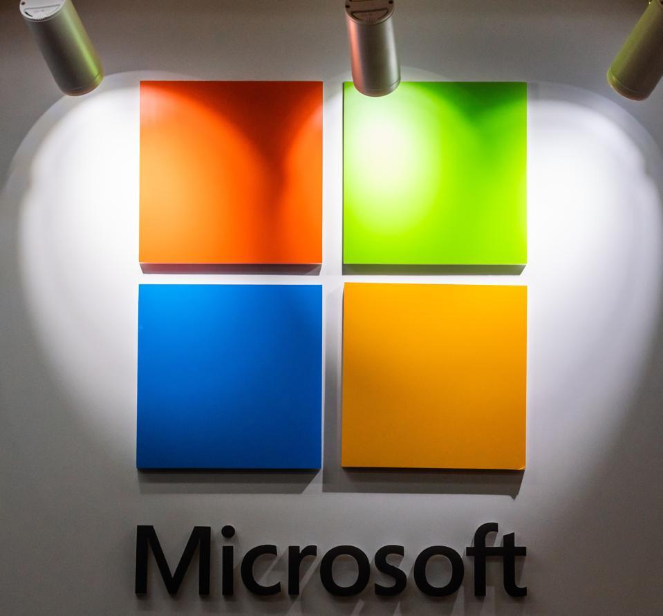 American multinational technology company, Microsoft logo...