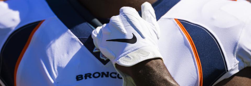 Nike glove on a Denver Broncos player