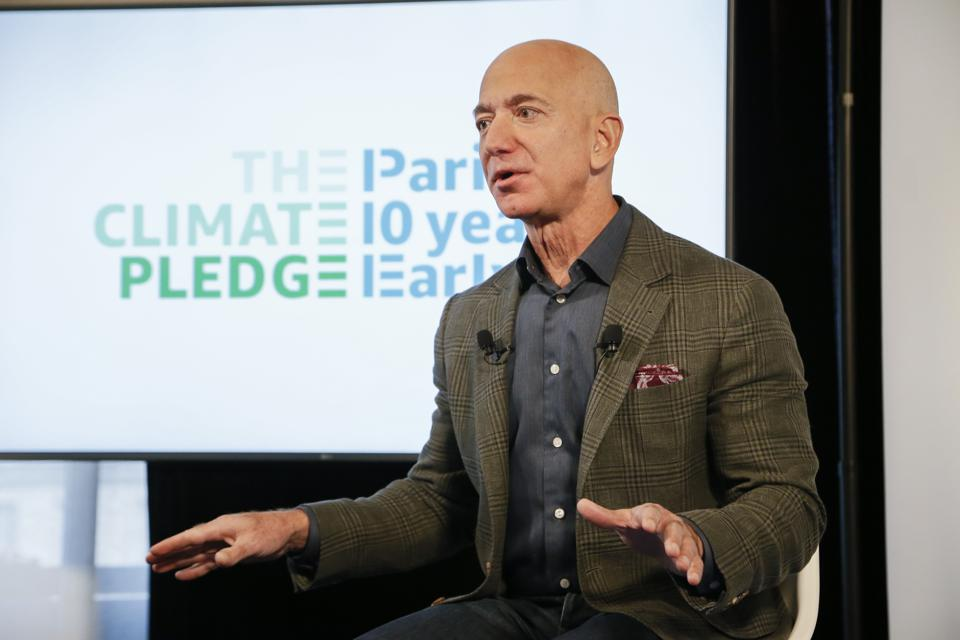Amazon CEO Jeff Bezos announces the co-founding of The Climate Pledge at the National Press Club on September 19, 2019 in Washington, DC.
