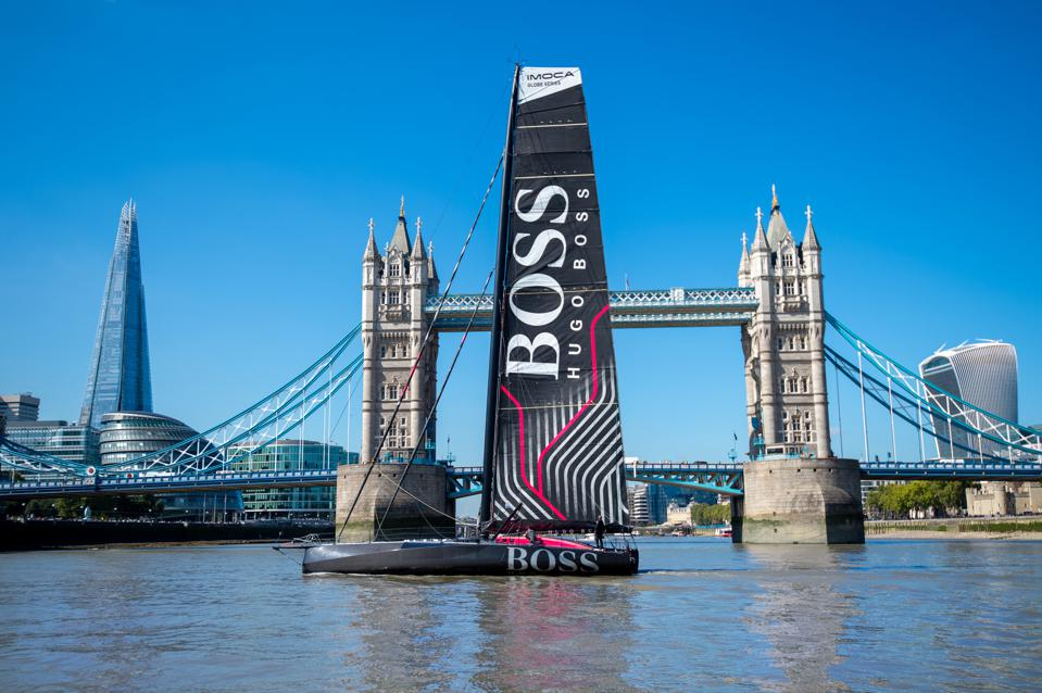 Yachtsman Alex Thomson Sails His New IMOCA Race Yacht on The River Thames
