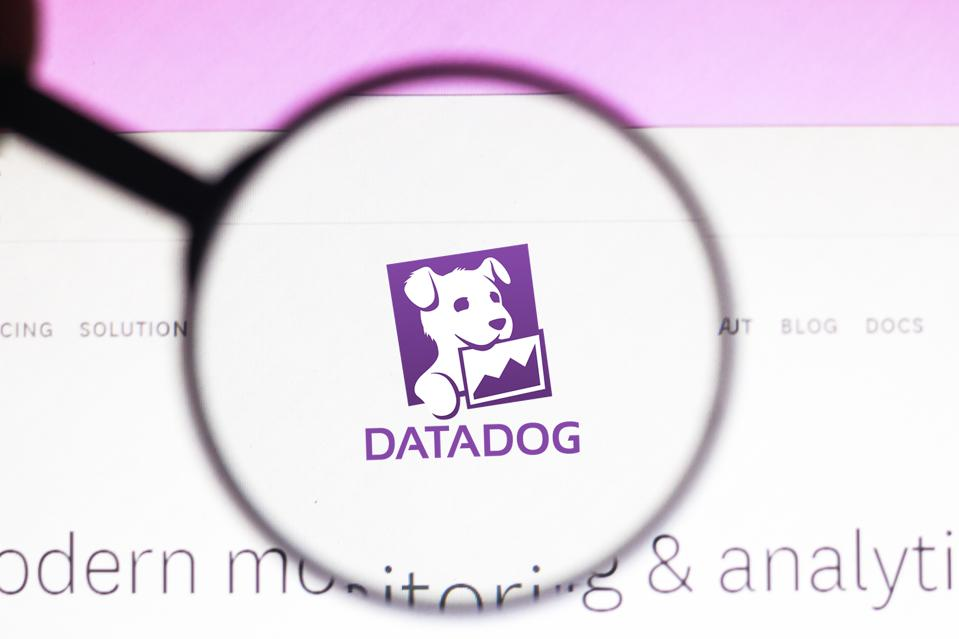 In this photo illustration the homepage of the Datadog...