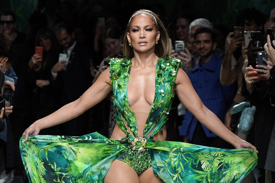 Jennifer Lopez walks the runway at the Versace show during the Milan Fashion Week Spring/Summer 2020 in September.