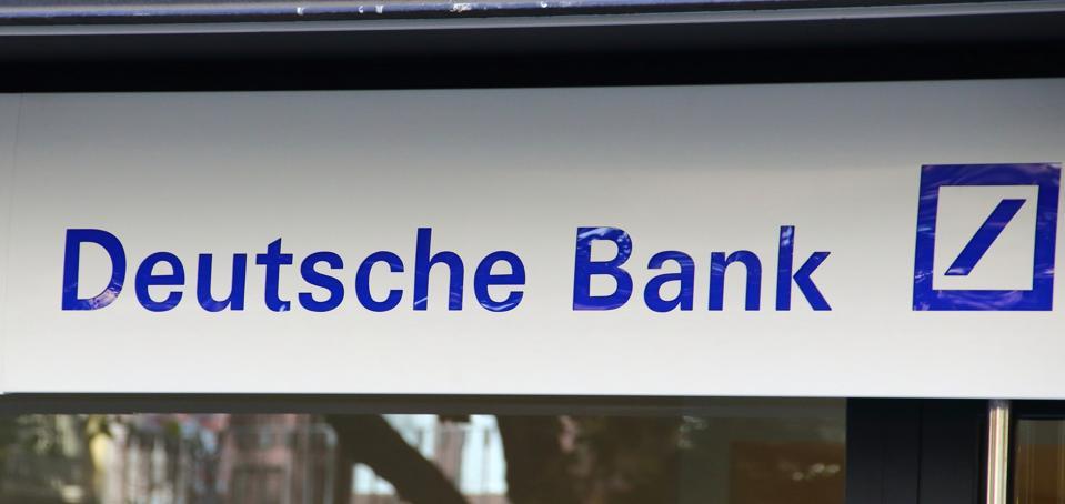 Deutsche Bank logo seen in Paseo de Gracia...