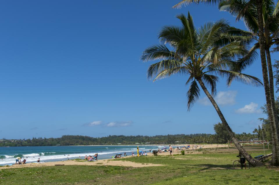 View of Hanalei beach on the northern end of the Hawaiian...