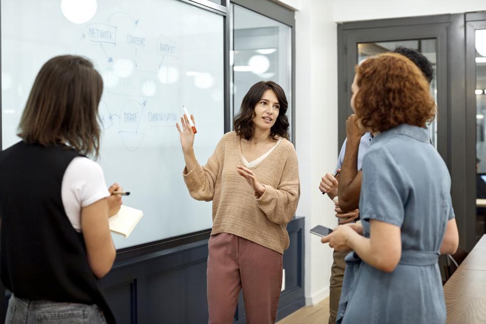 Businesswoman explaining plan to colleagues