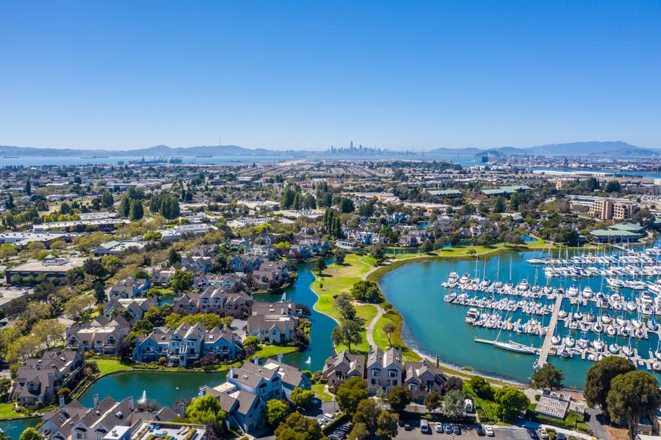 Aerial view of Alameda and Oakland Harbor