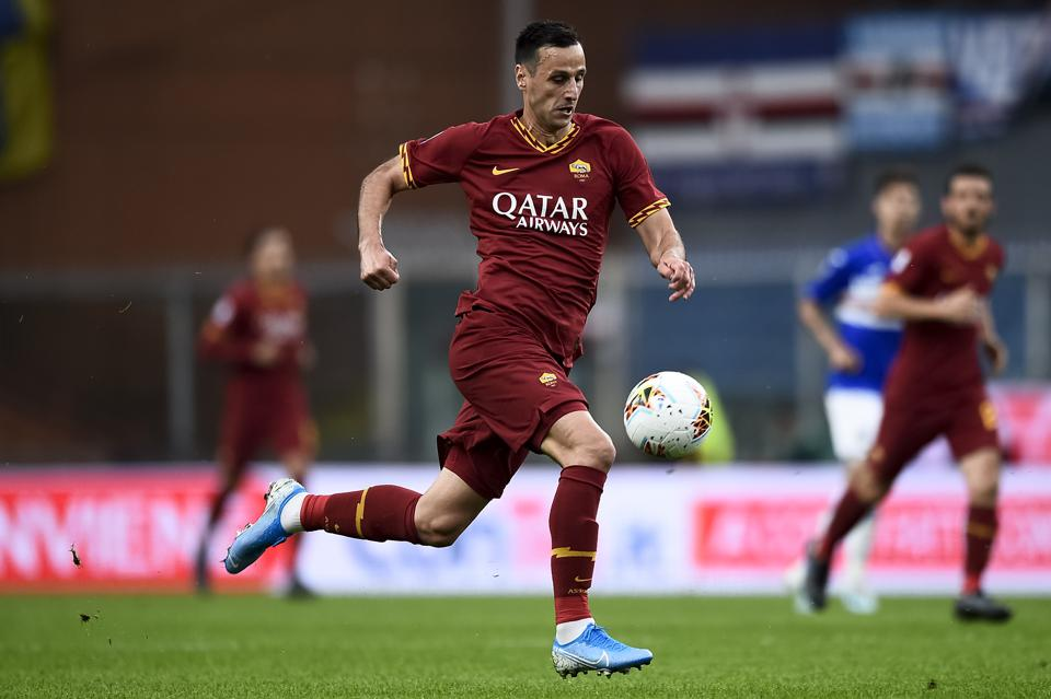 Nikola Kalinic of AS Roma in action during the Serie A...