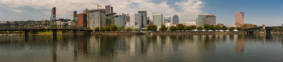 Panoramic Portland Oregon Skyline on Columbia River