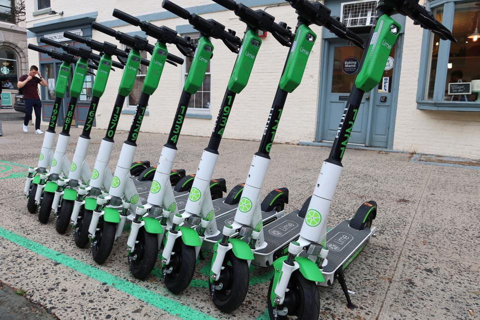 Lime Electric Scooters in Hoboken, New Jersey