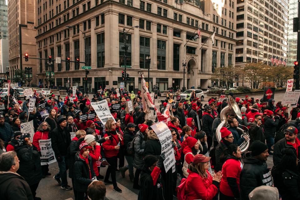 Chicago Teachers Hold Major Rally In Downtown Chicago As Strike Continues