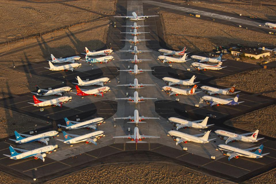 Boeing 737 MAX airplanes, along with one Boeing 787 at top