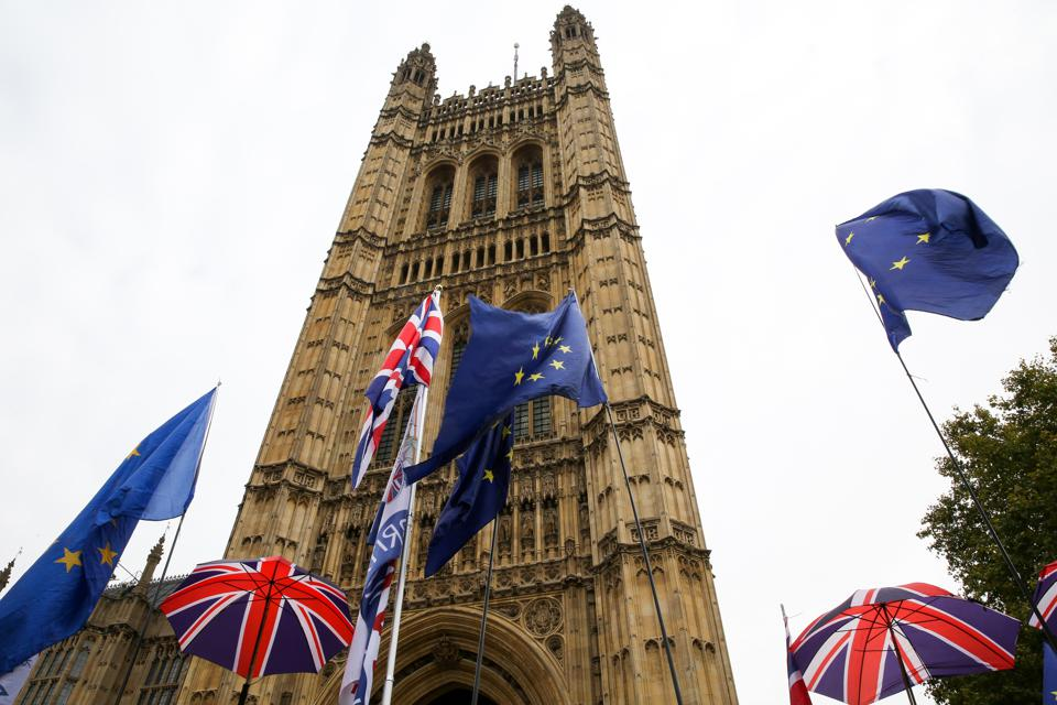 EU and Union Jack flags in Westminster, a day after the UK...