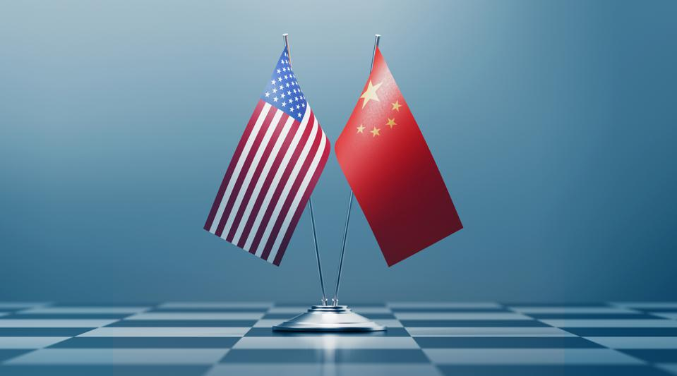American and Chinese Flag Pair on A Chess Board