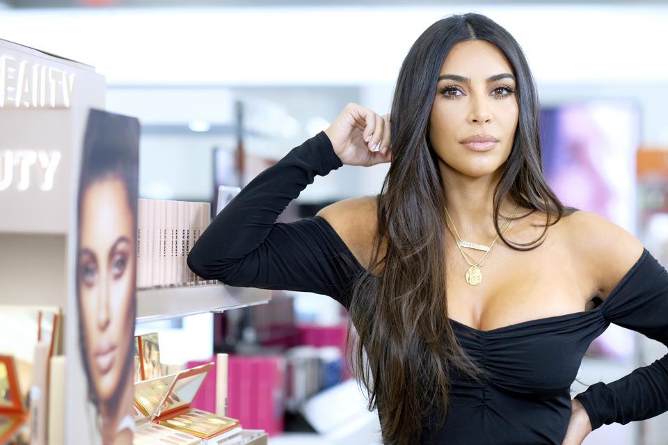 Kim Kardashian attends KKW Beauty launch at ULTA Beauty on October 24 in New York City.