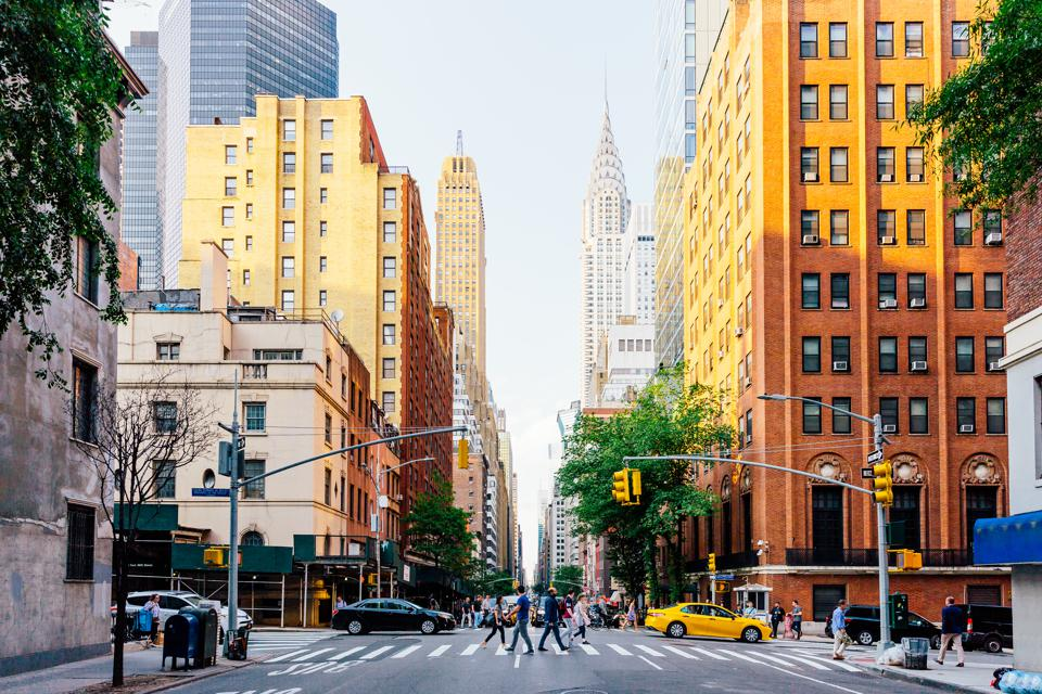 Lexington Avenue and Chrysler Building in New York City, USA