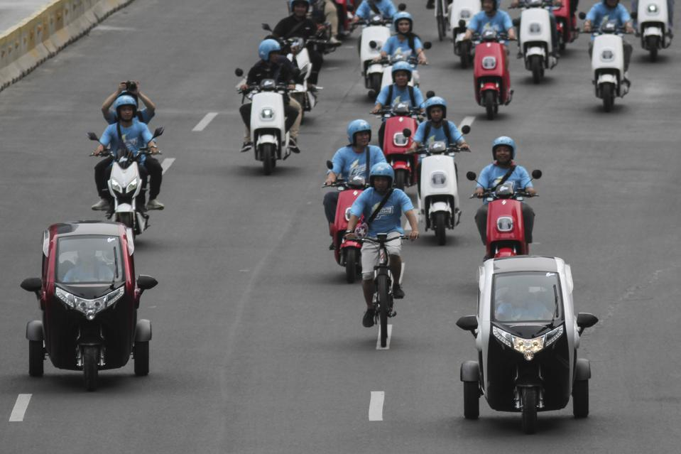 Electric vehicle parade in Jakarta