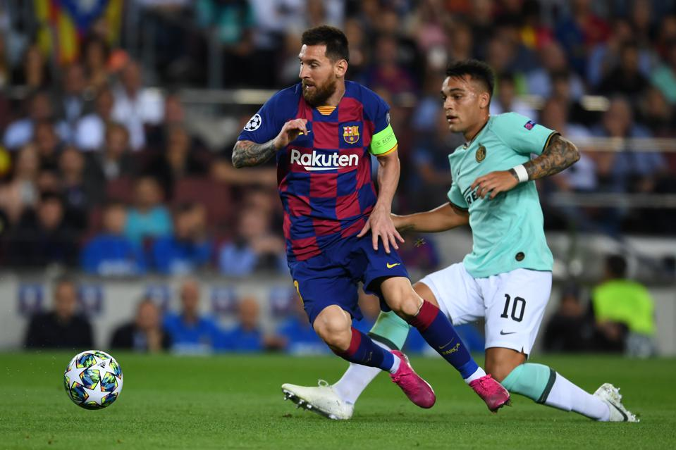 Lautaro Martinez scored for Inter Milan against FC Barcelona in the Champions League
