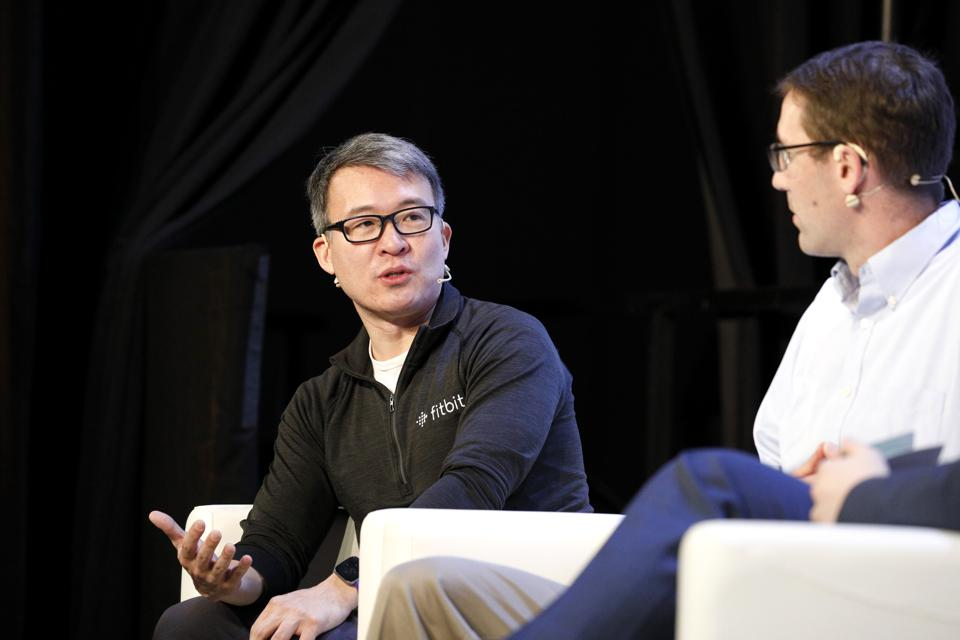 Fitbit cofounders James Park and Eric Friedman speak onstage during TechCrunch Disrupt San Francisco 2019.