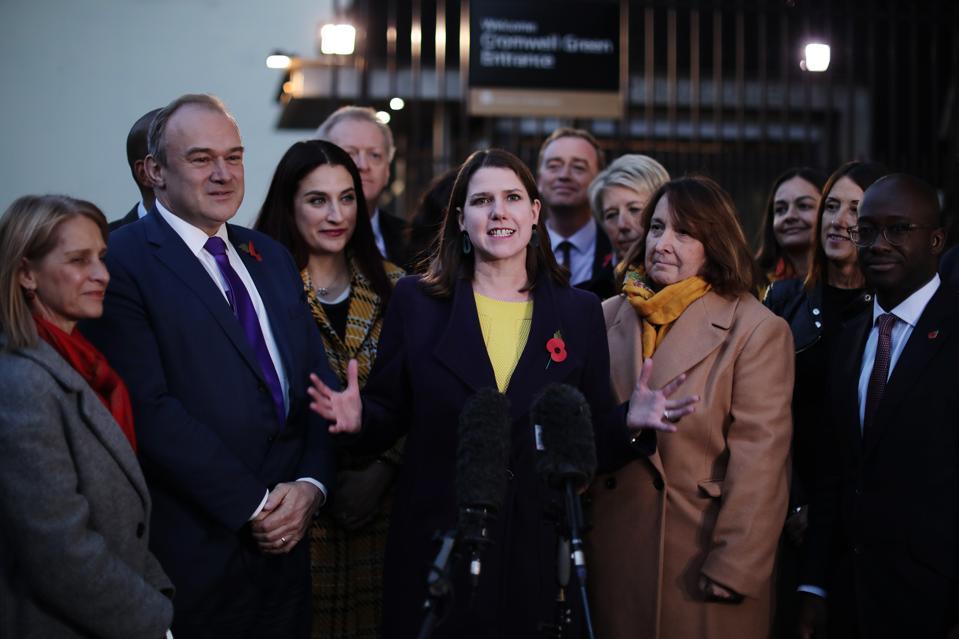 Liberal Democrat Leader Swinson Addresses Colleagues Outside Parliament