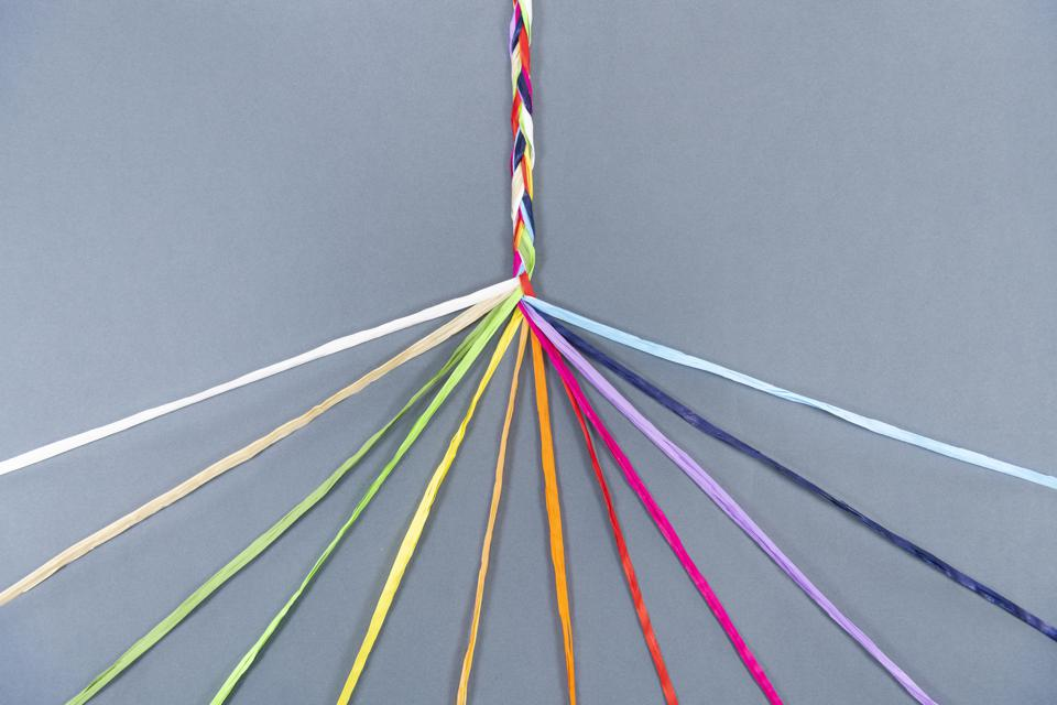 Coloured ropes knotting together