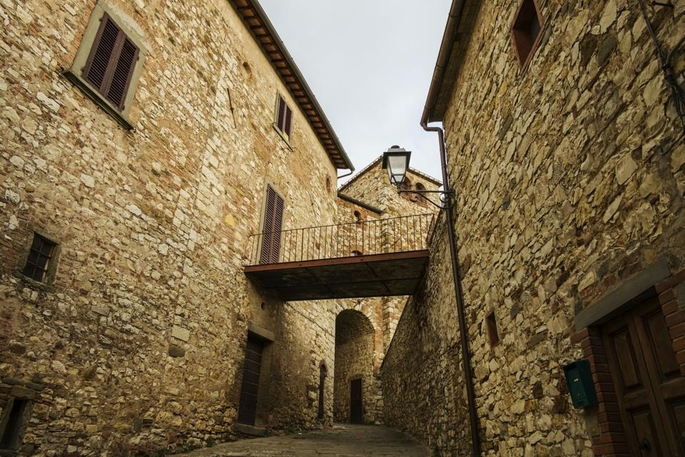 Street view of Radda in Chianti, Tuscany. A small typical wine town in Italy.