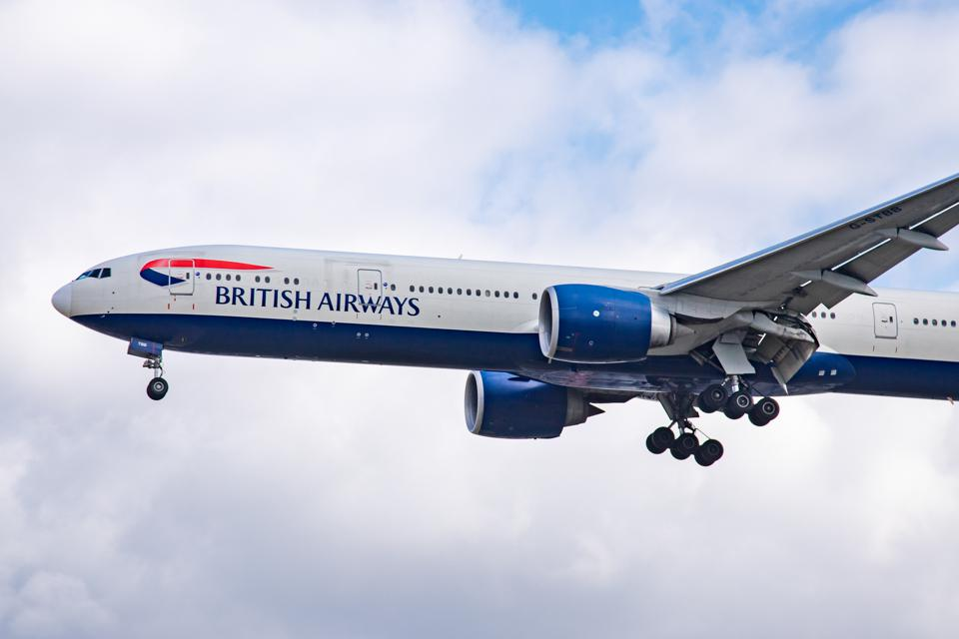 British Airways Boeing 777 landing at Heathrow