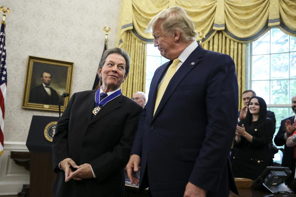 WASHINGTON, DC - JUNE 19: President Donald Trump presents the P