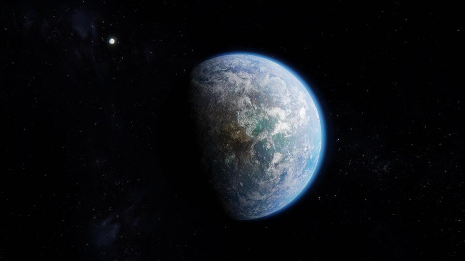 Habitable Earth like Alien Exoplanet with Moon in Space