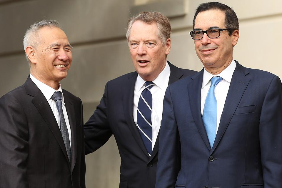 Chinese Vice Premier Liu He was greeted by U.S. Trade Representative Robert Lighthizer and Treasury Secretary Steven Mnuchin in Ocobter as they began a round of trade negotiations in Washington.